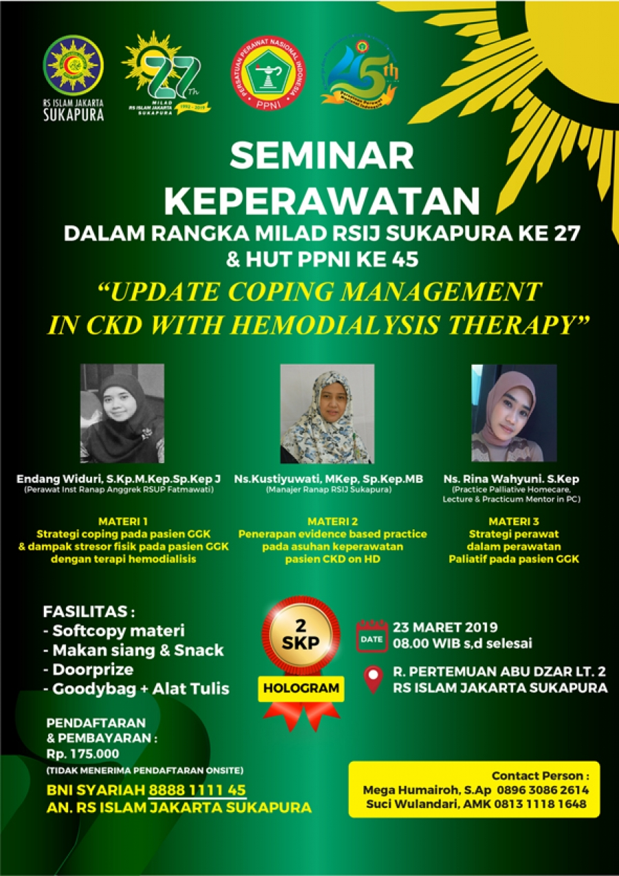 "Seminar Keperawatan ""UPDATE COPING MANAGEMENT IN CKD WITH HEMODIALYSIS THERAPY"""